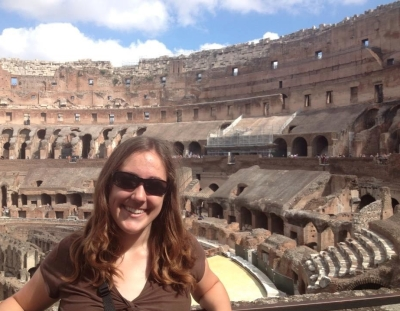 My sweaty, exhausted self inside the Colosseum