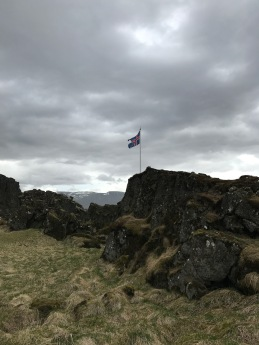 Þingvellir is the original home to the Alþingi, the world's oldest parliament - hence this flag.